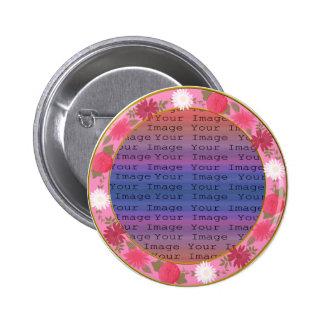 Pink Flowers Custom Round Button