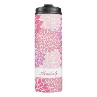Pink Flowers Custom Thermal Tumbler