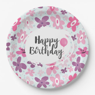 Pink Flowers Cute Whimsical Pattern Birthday Paper Plate