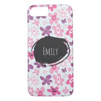Pink Flowers Cute Whimsical Pattern Personalized iPhone 8/7 Case