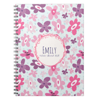 Pink Flowers Cute Whimsical Pattern Personalized Notebook