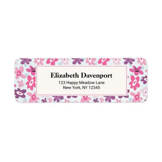Pink Flowers Cute Whimsical Pattern Return Address Label