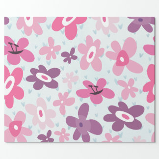 Pink Flowers Cute Whimsical Pattern Wrapping Paper