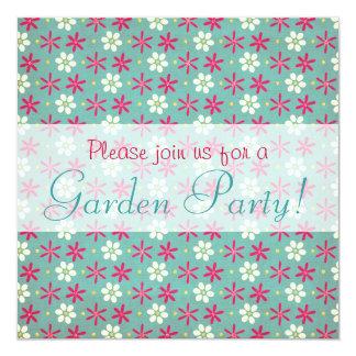 Pink Flowers & Daisies Aqua 13 Cm X 13 Cm Square Invitation Card