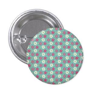 Pink Flowers & Daisies Aqua 3 Cm Round Badge