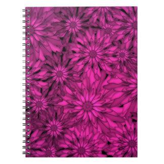 Pink Flowers Digital Art Spiral Note Book