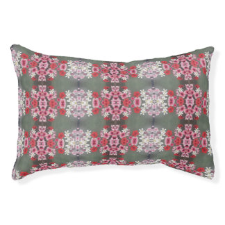 pink flowers dog bed