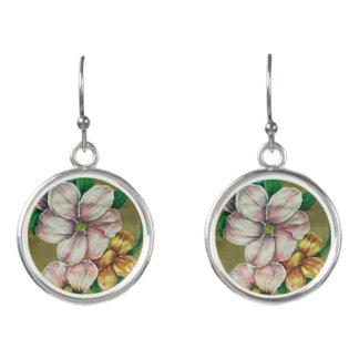 """Pink Flowers"" Earrings"