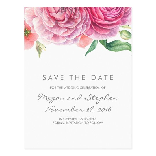 Pink Flowers Elegant and Romantic Save the Date