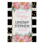 Pink Flowers Elegant Black Stripes Wedding Welcome Poster