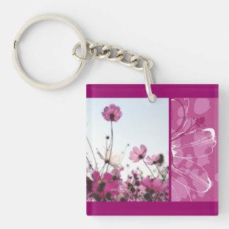 Pink flowers floral nature designer beautiful key ring