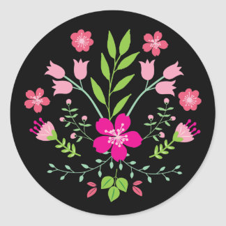 Pink Flowers Floral Pattern Classic Round Sticker