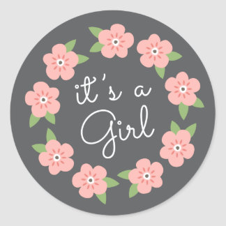 Pink flowers floral wreath it's a girl baby shower round stickers