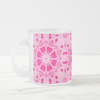Pink flowers for spring kaleidoscope 10 oz frosted glass coffee mug