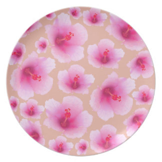 Pink flowers - hibiscus plate