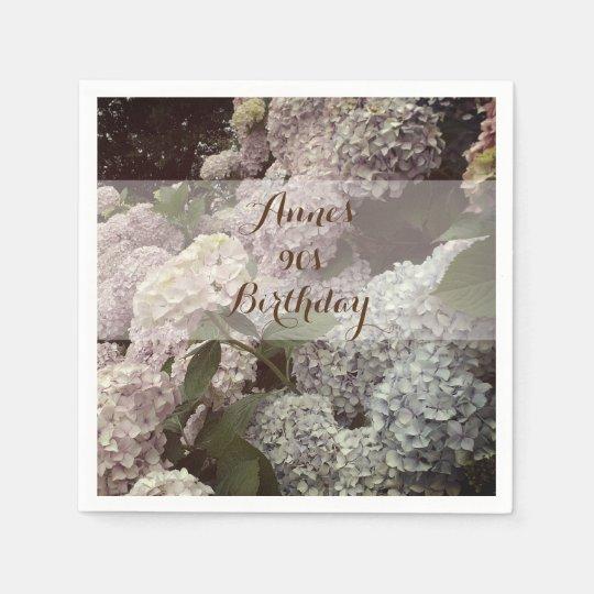 Pink Flowers Hydrangea 90th Birthday Napkins Disposable