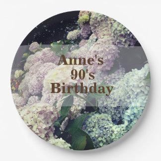 Pink Flowers  Hydrangea 90th Birthday Paper Plate
