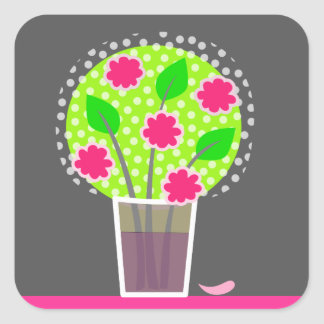 Pink Flowers in Vase Square Stickers