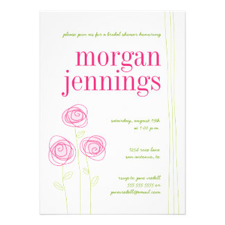 Pink flowers invitations
