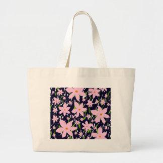 Pink flowers jumbo tote bag