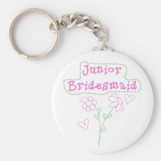 Pink Flowers Junior Bridesmaid Basic Round Button Key Ring