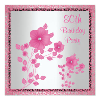 Pink Flowers & Lace 80th Birthday Party Card