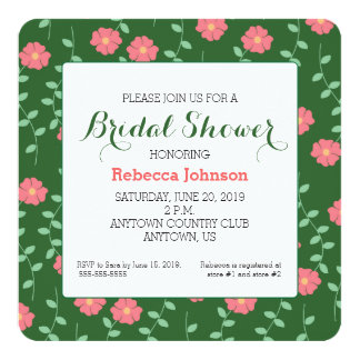 Pink Flowers & Leaves on Green Bridal Shower Custom Invitations