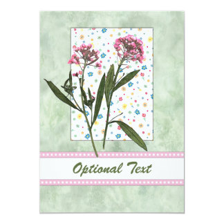 Pink  Flowers, Lt Green Water Color - Customize 13 Cm X 18 Cm Invitation Card