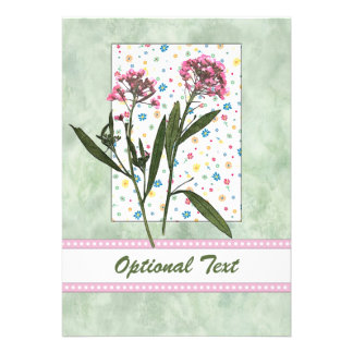 Pink  Flowers, Lt Green Water Color - Customize Personalized Announcements