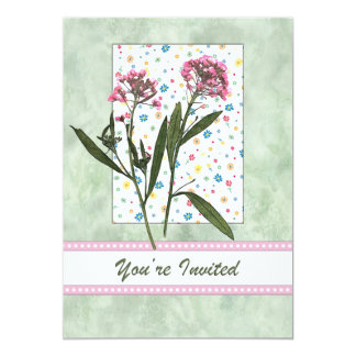 Pink  Flowers, Lt Green Water Color You're Invited 13 Cm X 18 Cm Invitation Card