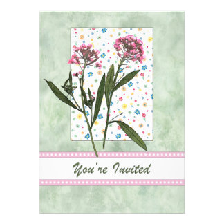 Pink  Flowers, Lt Green Water Color You're Invited Custom Announcements