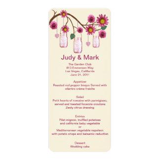 Pink Flowers Mason Jars Menu Card 10 Cm X 24 Cm Invitation Card