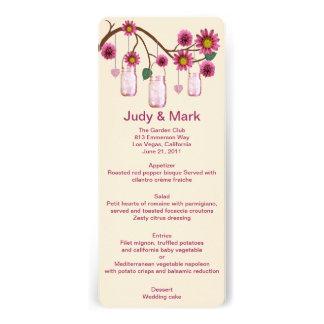 Pink Flowers Mason Jars Menu Card