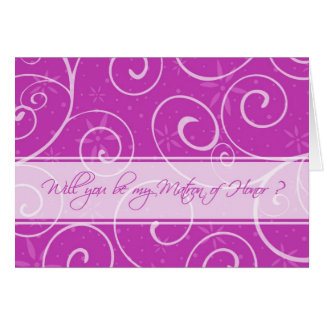 Pink Flowers Matron of Honor Invitation Card