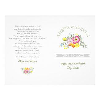Pink flowers modern floral wedding program 21.5 cm x 28 cm flyer