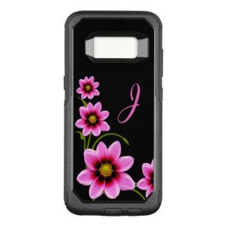 Pink Flowers Monogrammed Otterbox Samsung S8 Case