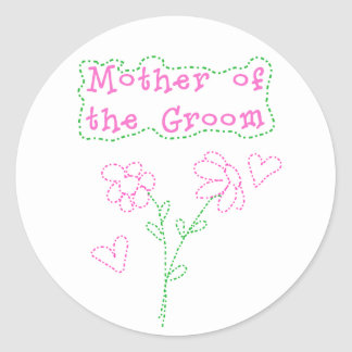 Pink Flowers Mother of  Groom Round Sticker