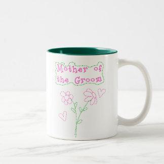 Pink Flowers Mother of  Groom Two-Tone Coffee Mug