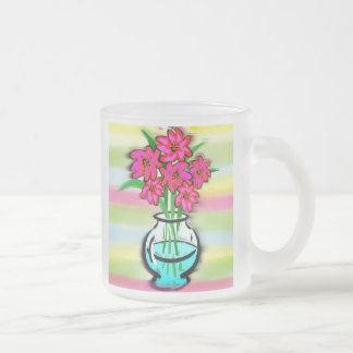 Pink Flowers Frosted Glass Mug
