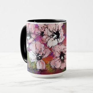 Pink Flowers Mug Mixed Media Art - Sheryl Amburgey