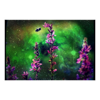 Pink Flowers N Bee Against the World Poster