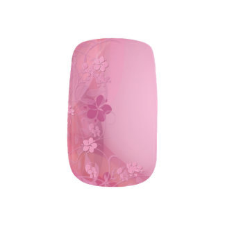 Pink flowers nails minx nail art