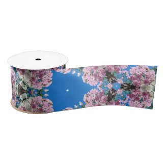 Pink flowers on blue background ribbon satin ribbon