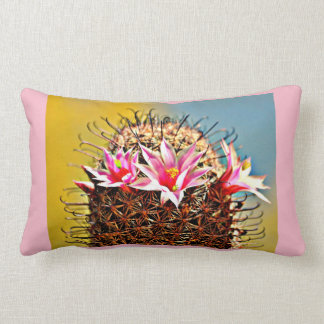 Pink Flowers on Fishhook Cactus Throw Pillow