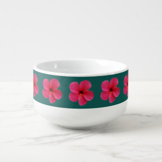 pink flowers on green soup mug