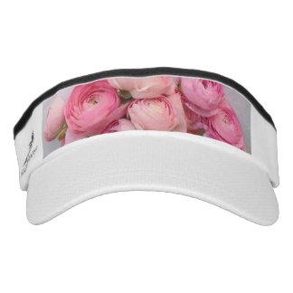 Pink flowers on handmade paper visor