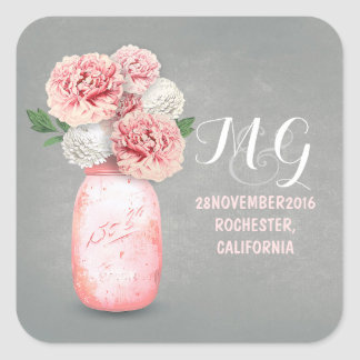 Pink flowers painted mason jar wedding stickers