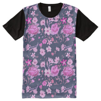 Pink flowers pattern All-Over print T-Shirt