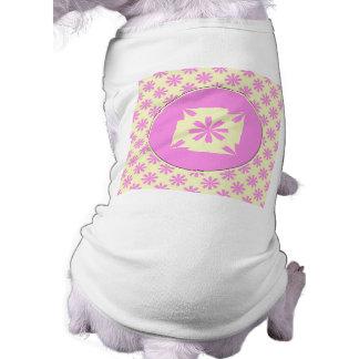 Pink flowers pattern sleeveless dog shirt