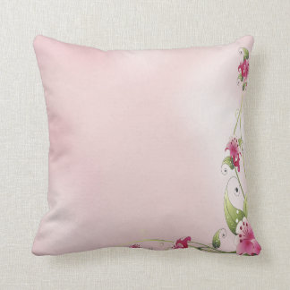 Pink Flowers Pattern Throw Pillow